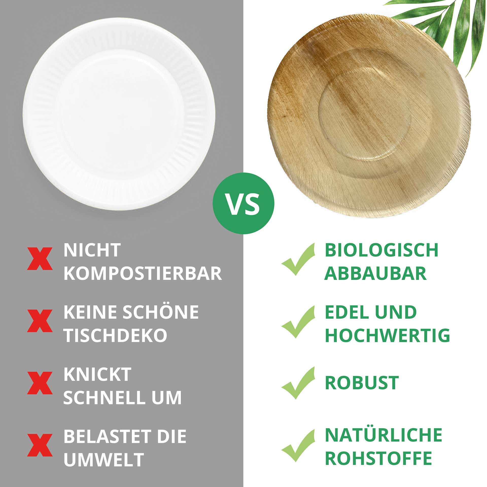 Palm leaf products in comparison